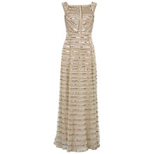 Buy Gina Bacconi Square Neck Beaded Mesh Gown, Oyster Online at johnlewis.com
