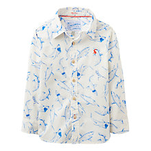 Buy Little Joule Boys' Bryce Shark Print Shirt, Cream/Blue Online at johnlewis.com