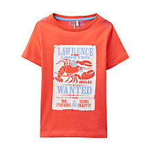 Buy Little Joule Boys' Ben Lobster Print T-Shirt, Orange Online at johnlewis.com