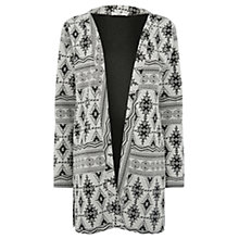 Buy Oasis Aztec Jacquard Cardigan, Black/White Online at johnlewis.com