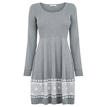Buy Oasis Fairlisle Hem Dress, Pale Grey Online at johnlewis.com