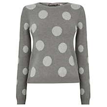 Buy Oasis Spotty Intarsia Jumper, Mid Grey Online at johnlewis.com
