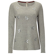 Buy White Stuff Hummingbird Sequin Jumper, Soft Grey Online at johnlewis.com