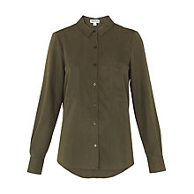 Buy Whistles Amy Tencel Shirt, Khaki Online at johnlewis.com