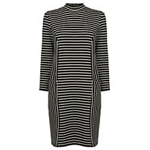 Buy Warehouse Textured Stripe Dress, Black/White Online at johnlewis.com