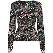 Buy Warehouse Pretty Floral 70s Wrap Top, Black Online at johnlewis.com