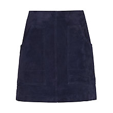 Buy Whistles A-Line Suede Skirt, Navy Online at johnlewis.com