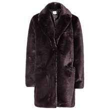 Buy Reiss Alba Faux Fur Coat, Deep Bordeaux Online at johnlewis.com