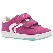Buy Geox Children's Maltin Leather Lace-Up Trainers, Fushia/Watersea Online at johnlewis.com