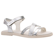 Buy Geox Children's Karly Rip-Tape Sandals, White/Silver Online at johnlewis.com