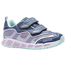 Buy Geox Children's Shuttle Light Up Rip-Tape Trainers, Avio/Pink Online at johnlewis.com