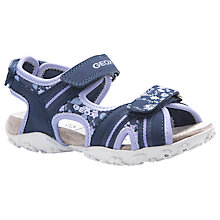 Buy Geox Children's Roxanne Rip-Tape Sandals, Navy/Lilac Online at johnlewis.com