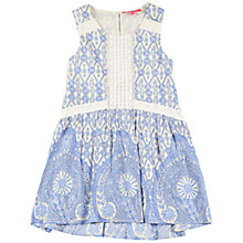 Buy Derhy Kids Girls' Tile Print Dress, Cream/Blue Online at johnlewis.com