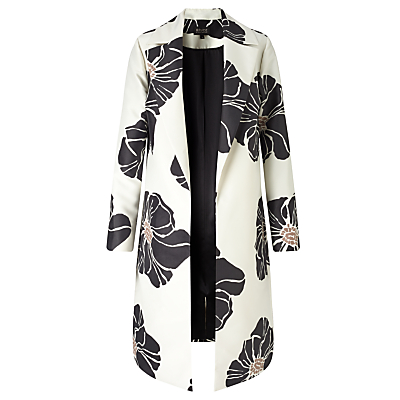 Bruce by Bruce Oldfield Floral Print Coat, Black/Cream