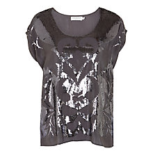 Buy Velvet Antonina Sequin Top, Gunmetal Online at johnlewis.com