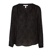 Buy Joie Carita Lace Print Georgette Blouse, Black Online at johnlewis.com
