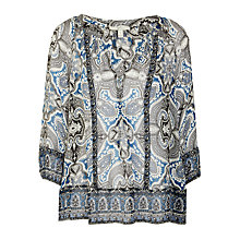 Buy Joie Gloria Paisley Print Crinkle Blouse, Caviar/Daydream Online at johnlewis.com