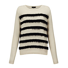 Buy Weekend by MaxMara Abramo Faux Fur Stripe Jumper, White/Black Online at johnlewis.com