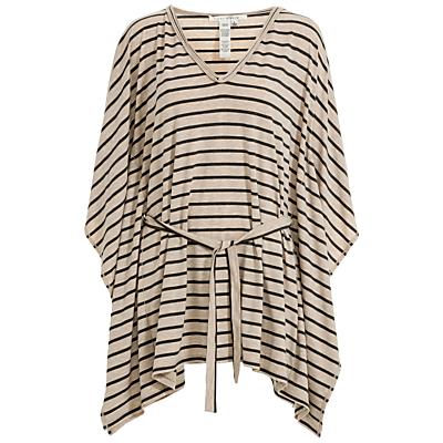 Max Studio Belted Stripe Jersey Top, Heather Bone/Black