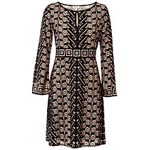 Buy Max Studio Long Sleeve Devore Dress, Taupe/Black Online at johnlewis.com