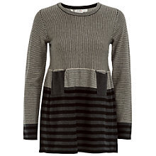 Buy Max Studio Contrast Stripe Pocket Jumper, Black/Grey Online at johnlewis.com