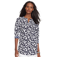 Buy Lauren Ralph Lauren Marlen Tunic Top, Navy/White Online at johnlewis.com