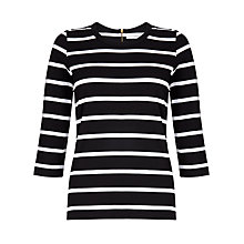 Buy John Lewis Zip Detail Breton Stripe Top, Black/White Online at johnlewis.com