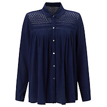 Buy Collection WEEKEND by John Lewis Lace Trim Boho Blouse, Navy Online at johnlewis.com