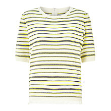 Buy Collection WEEKEND by John Lewis Stripe Zip Back Knitted Top With Fringe Trim, Ivory/Lemon Online at johnlewis.com
