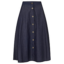 Buy Collection WEEKEND by John Lewis Button Thru Midi Skirt, Blue Online at johnlewis.com