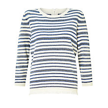 Buy Collection WEEKEND by John Lewis Stripe Zip Back Knitted Top With Fringe Trim, Ivory/Blue Online at johnlewis.com