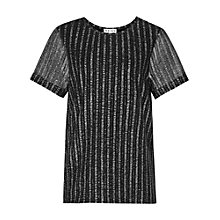 Buy Reiss Kelly Metallic Stripe Jersey Top, Pewter Online at johnlewis.com