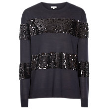 Buy Reiss Diamond Sequin Stripe Jumper, Night Navy/Black Online at johnlewis.com