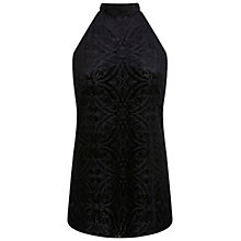 Buy Miss Selfridge Cutaway Devore Tunic Top, Black Online at johnlewis.com