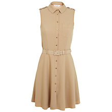 Buy Miss Selfridge Sleeveless Belted Shirt Dress, Camel Online at johnlewis.com