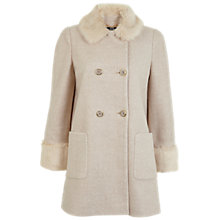 Buy Miss Selfridge Faux Fur Collar Pea Coat, Camel Online at johnlewis.com