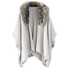 Buy Poetry Faux Fur Trimmed Cape, Pale Grey Online at johnlewis.com