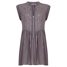 Buy Mint Velvet Bead Front Blouse, Grey Online at johnlewis.com