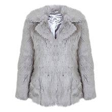 Buy Miss Selfridge Petite Faux Fur Coat, Grey Online at johnlewis.com