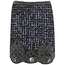 Buy Miss Selfridge Grid Embellished Skirt, Dark Grey Online at johnlewis.com