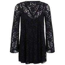 Buy Miss Selfridge Lace Up Tunic Dress, Black Online at johnlewis.com