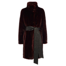 Buy Coast Moscow Faux Fur Coat, Merlot Online at johnlewis.com
