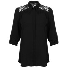 Buy Miss Selfridge Lace Cowell Back Shirt, Black Online at johnlewis.com