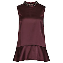 Buy Reiss Embellished Top, Deep Bordaeux Online at johnlewis.com