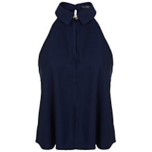 Buy Miss Selfridge Halterneck Shell Top, Navy Online at johnlewis.com