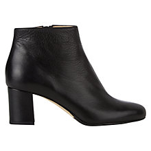 Buy Hobbs Tegan Block Heeled Ankle Boots, Black Leather Online at johnlewis.com