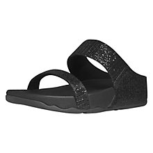 Buy FitFlop Lulu Superglitz Flip Flops, Black Online at johnlewis.com