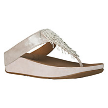 Buy FitFlop Cha Cha Leather Flip Flops, Silver Online at johnlewis.com