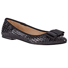 Buy John Lewis Pointed Toe Bow Detail Pumps, Black Crocodile Online at johnlewis.com