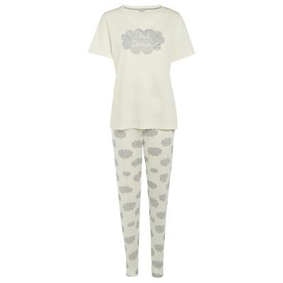 John Lewis Cloud Dancer Short Sleeve Pyjama Set, Ivory/Grey